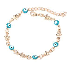 Turquoise Evil Eye Gold Star Charm Bracelet